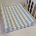 changerbubbles and stripe in blue and taupe change mat